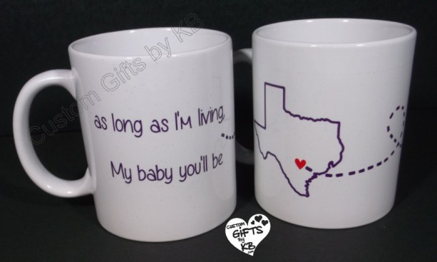As Long As I'm Living Mugs Set (2 mugs), Mother and daughter mugs, custom mugs, custom text, distance mugs, birthday gift, going away