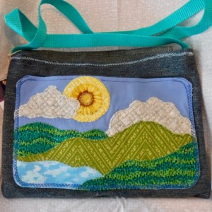 Sun and hills shoulder bag, side bag, applique design