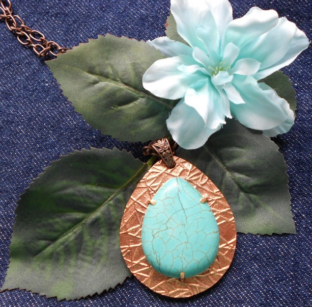 Over-sized Copper and Turquoise Teardrop-Shaped Pendant