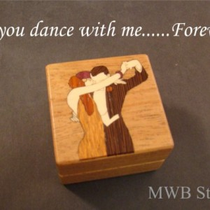 Engagement Ring Box Inlaid With Dancing Couple.  Free Shipping and Engraving.