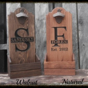 Beer bottle opener with cap catcher personalized - Man cave Christmas gift for him - Wooden Beer pub sign - Groomsmen wedding Gift