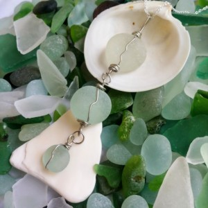 Light green sea glass necklace, sea foam green sea glass, sea glass necklace, beach glass, sea glass jewelry, wire wrapped sea glass, beachy