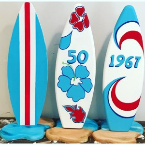Surfboard surf board party table numbers decor wedding birthday special occassion
