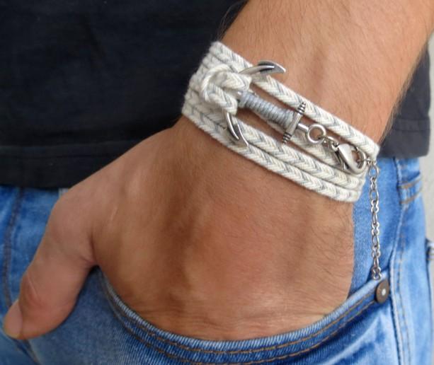 Men's Anchor Bracelet - Men's Bracelet - Men's Vegan Bracelet - Men's Jewelry - Men's Gift - Boyfriend Gift - Husband Gift - Gift For Dad