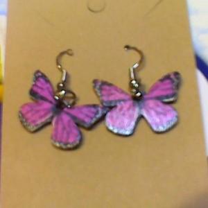 Purple Butterfly wood painted earring.