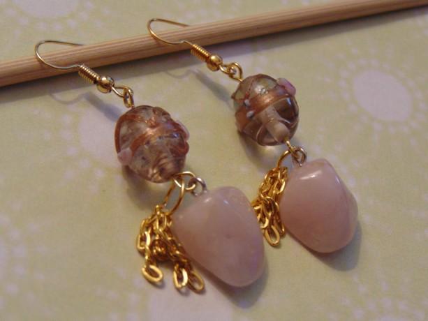 Rose Quartz Healing Stone Golden Lampwork Bead Chain Tassel Golden Dangle Drop Earrings