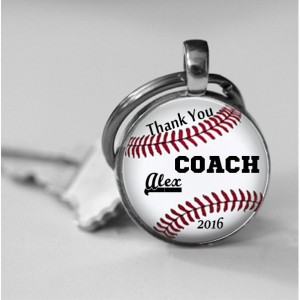 Baseball Coach Trophy Personalized Glass Thank you Photo Necklace or Key Chain Team Awards Coach Gift Recognition Coach thank you Baseball