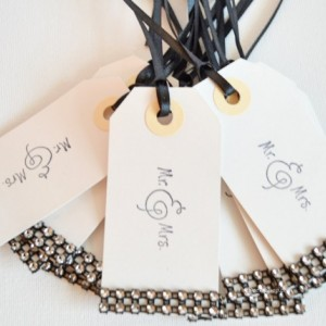 Wish Tree Wedding Tags Gift Tags Bling Party Tags Favor Tags Black and Silver Bling Wishing Tree Tags Mr & Mrs Hand Stamp 25 Pc Lot