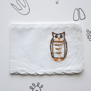 Embroidered Owl Handkerchief Handmade Owl Gift by wrenbirdarts