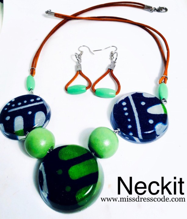 African Print Fabric in Resin Beaded Statement Necklace Set