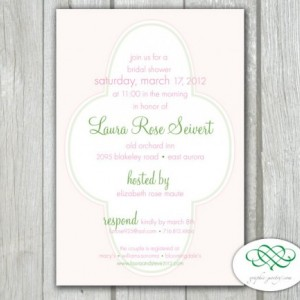 Bridal or Baby Shower - Flower Pattern Printable PDF 4 x 6 Invitation
