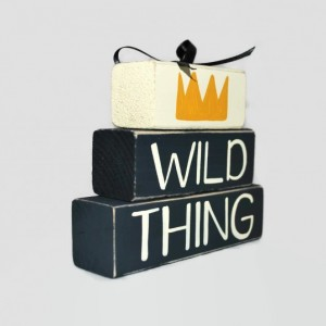 Wild Thing Crown Nursery WoodenBlock Shelf Sitter Stack