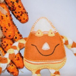Candy corn Man Organic Stuffed Felt Toy Fall Decoration Halloween