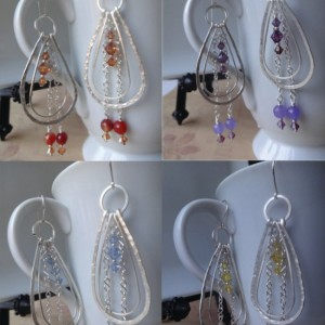 Double Loop Earrings with Chain Dangle Backdrops