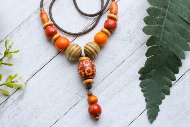 Colorful Wood Necklace, Vibrant Earth Tones Necklace, Orange and Red Wood Beads