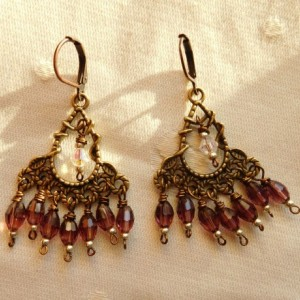 Bohemian Chandelier bronze tone earrings with purple crystal glass beads and seed beads. E00287
