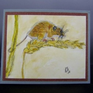 Watercolor Greeting Card,Mouse Harvest