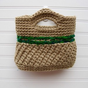 Natural Jute and Green Sari Silk Purse - handmade in the USA by Twisted Blossom Design