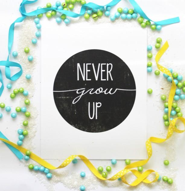 Never Grow Up | Peter Pan Art Print | Inspirational Quote Poster | Black and White Nursery | Minimalist | Nursery Art Print | Kid's Room