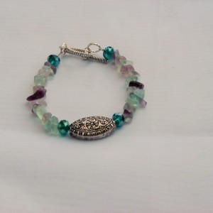 Flourite and Swarovski Crystal Bracelet