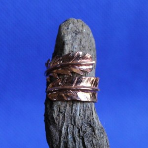 Copper Feather Foldformed Ring, Thin Band Feather Copper Ring, Copper Feather Ring, Feather Foldformed Copper Ring, Copper Ring Adjustable