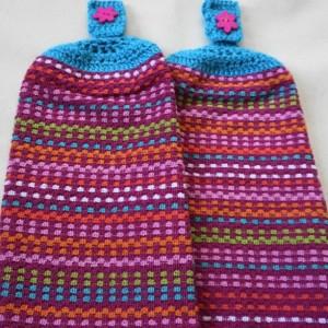 Cotton Candy Sunset Crochet Top Kitchen Towel, Set of 2