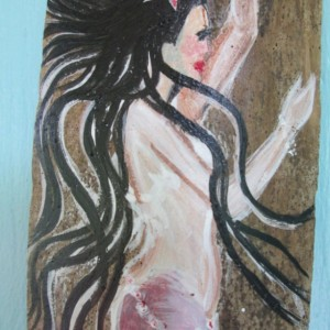 Two Hand Painted Pink Mermaids on Drift Wood Naultical Decor Beach House Decor