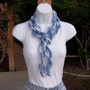 Faded Denim Blue Skinny SUMMER SCARF Small 100% Cotton Spiral Crochet Knit Narrow Lightweight Warm Weather Scarf, Ready to Ship in 3 Days