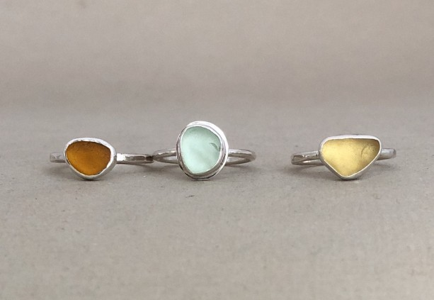 Stacking Sea Glass Rings