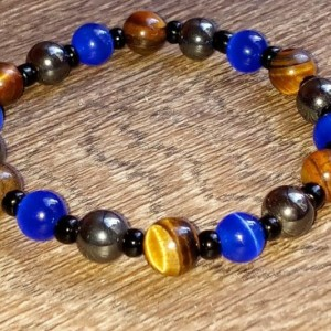 Men's Hematite and Tiger Eye Bracelet With Blue Cats Eye
