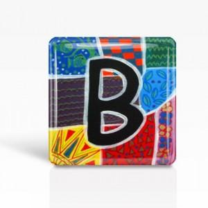 "ALPHABET Letter ""B"" - Glass MAGNET By Artist A.V.Apostle- 2""x 2"""