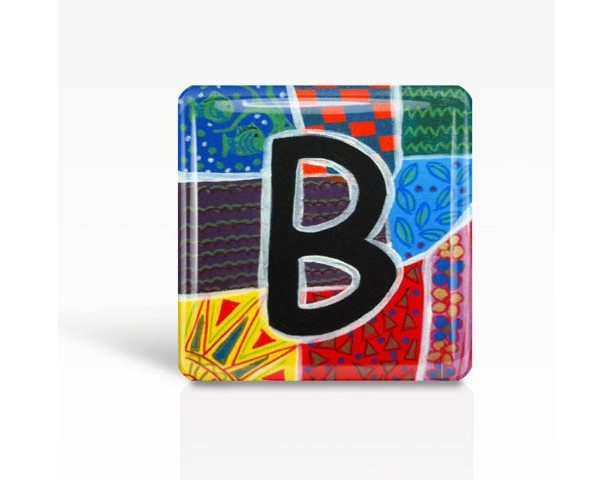 "ALPHABET Letter ""B"" - Glass MAGNET By Artist A.V.Apostle- 2""x 2"""