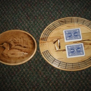 Loon Family 3 track oval cribbage board with storage