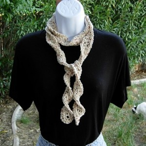 Women's Light Natural Brown Skinny Crochet Knit SUMMER SCARF Small Soft Cotton Spiral Knit Narrow Lightweight Beige Crocheted Necklace Ready to Ship in 2 Days