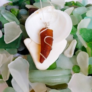Amber brown sea glass necklace, amber beach glass necklace, brown sea glass jewelry, amber necklace, brown necklace, amber jewelry