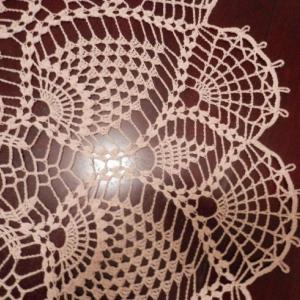 "Stunner Real Handmade Crochet Tablecloth-Doily, ECRU, Round, 33"", 100% Cotton, Free shipping USA"