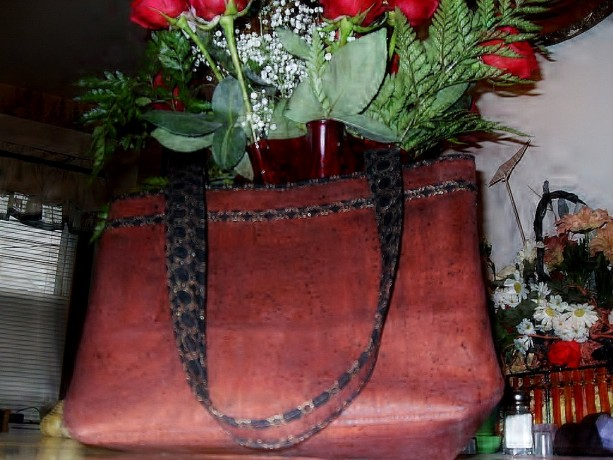 Rustic Brown Cork Purse With Quilted Lining and Pockets
