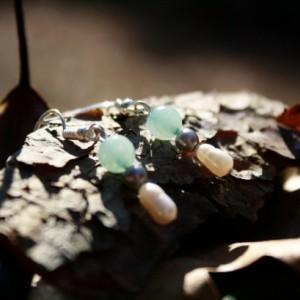 Dangle pearl and aqua earrings