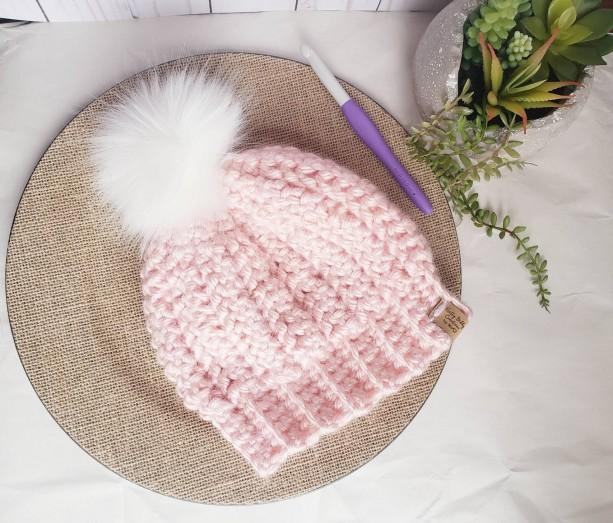 Ready to ship! Soft bulky knit beanie! Handmade crochet beanie/ hat faux fur pom, white pom pom, removeable pom pom perfect valentine's day