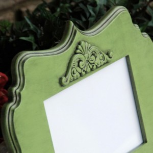 Apple green picture frame, Ornate wall collage frame, Wooden 5x7 picture frame, Cottage chic home decor