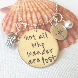 Not all who wander are lost sterling silver hand stamped necklace | Graduation Gift | Promotion Gift | Friend Gift | Inspiration | Birthday
