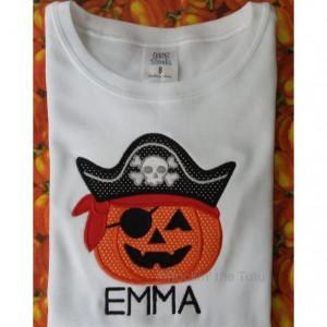Pumpkin Pirate Appliquéd Shirt or Bodysuit - Halloween Shirt