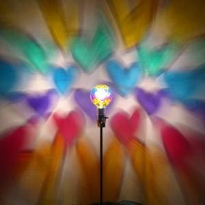 Hand-Painted Rainbow Hearts Mood-Light Bulb