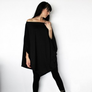 Soft Black Asymmetrical Draped Poncho / Oversize Draped Tunic Shirt