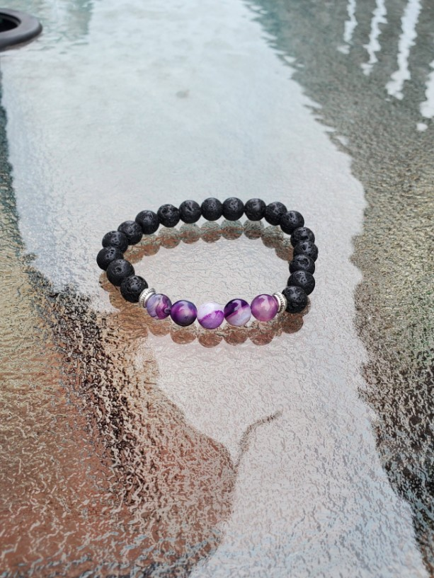 Purple Agate Lava Stone Grounding Bracelet, Meditation Anxiety Stress Relief Bracelet, Fashion Buddha Jewelry, Purple Agate Bracelet