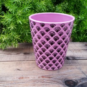 Pink Ceramic Pot with Black Hand-Drawn Design