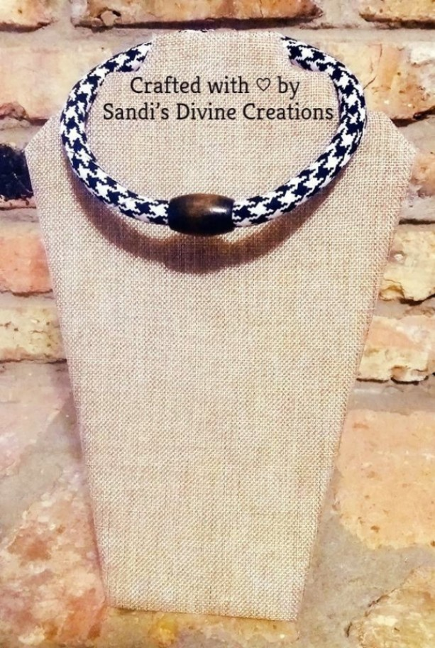 Houndstooth Necklace, Beaded Houndstooth Necklace, Houndstooth Rope Necklace, Ankara Fabric Beaded Necklace, Fabric Necklace, Ankara Necklace