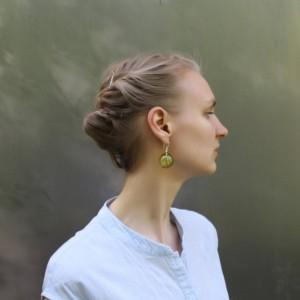Blown Glass Silver Earrings - Dusk Green Color - Lightweight - Hollow