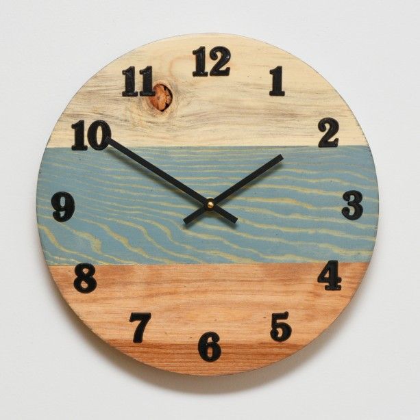 "Sunset at the lake 12"" Blue Pine Clock"