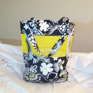 Black and yellow floral tote/wallet combo